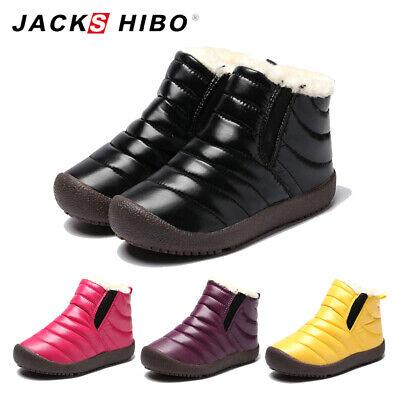 Boys Girls Non-slip Snow Shoes Waterproof Winter Boots Kids Fleece Lined Easy On