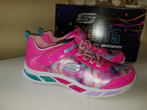 Skechers Kids Girls Litebeams-Dance N/'Glow Sneakers Neon Pink//Multi Sz.2 EU 33,5