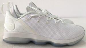 Nike-Lebron-XIV-14-Low-Basketball-Shoes-White-Ice-Weave-878636-101-Mens-Size-13