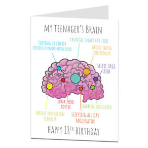 Funny-18th-Birthday-Card-For-Girls-amp-Boys-034-Teenagers-Brain-034-Design-Son-Daughter