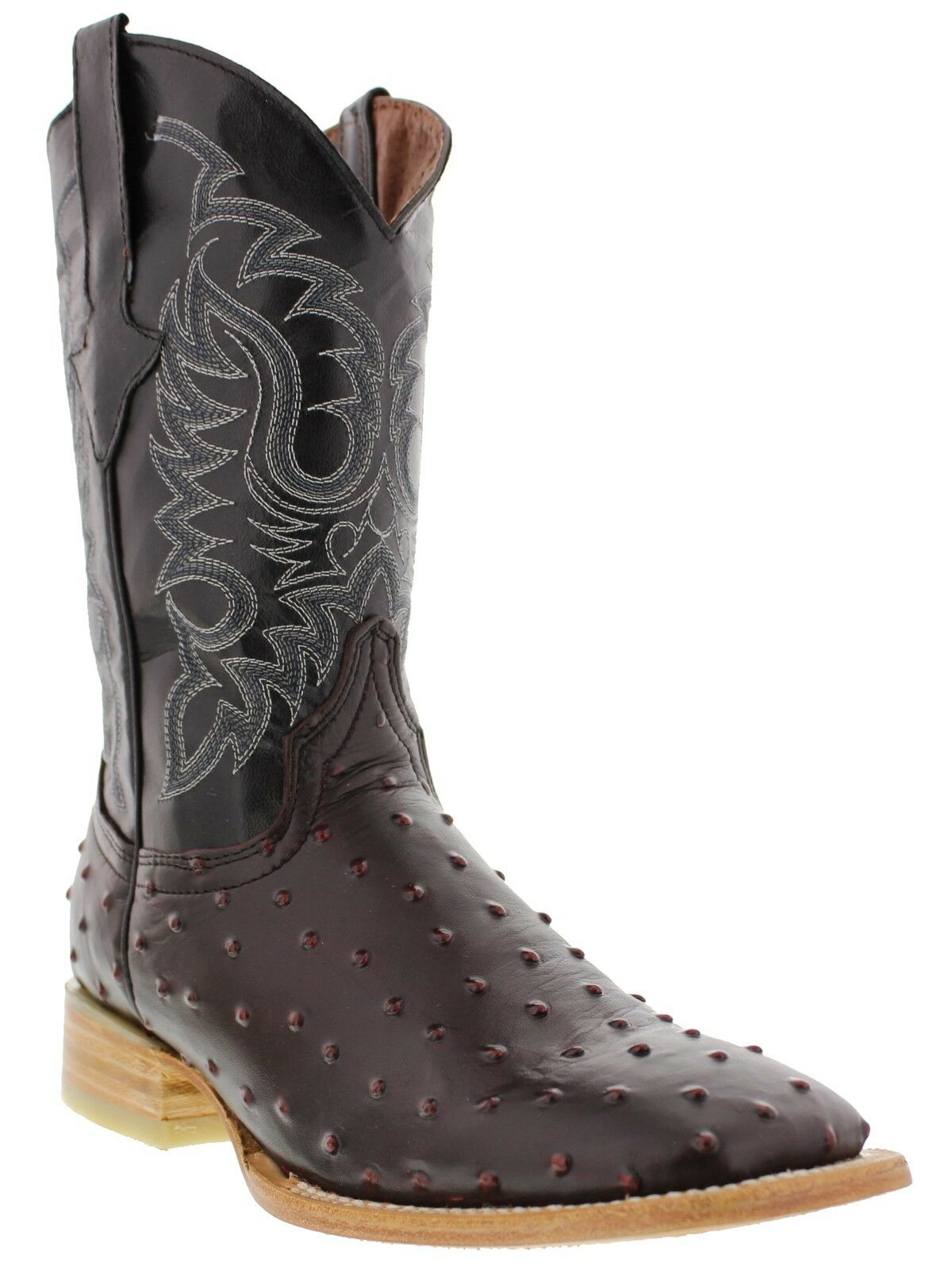 Mens Black Cherry Ostrich Print Western Country Cowboy Leather Boots Square
