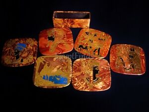 """Egyptian 3.7/"""" Coffee Table Coaster Set Genuine Leather  Handcrafted Ethnic 221"""
