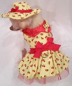 Harness-Dress-Harness-Dog-dress-dog-clothes-Cherry-Surprise-xs-s-m-l-FREE-SHIP