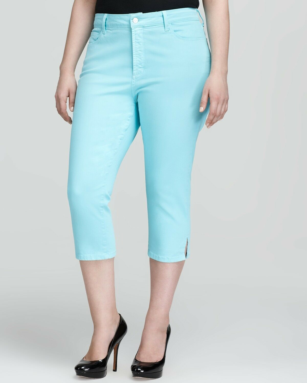 NEW NYDJ Not Your Daughters Jeans pants NANETTE ocean mist crop capri khaki 14W