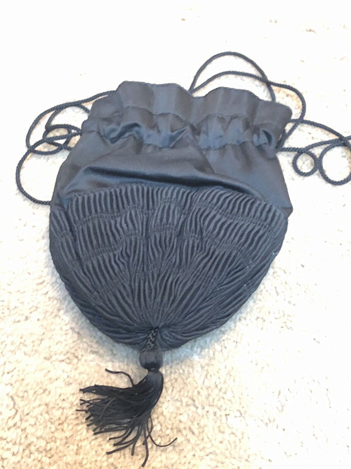 Indispensable Round Draw String Silver Embroidered Purse Victorian Era Purse Antique Draw Sting Purse