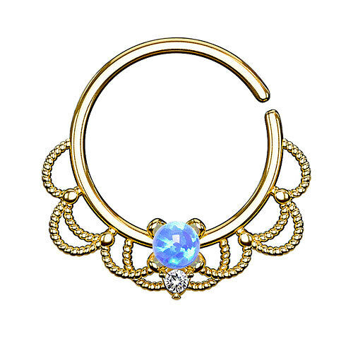 Septum Piercing Continuous Universal Ohr Tragus Helix Daith Ring Tribal mit Opal