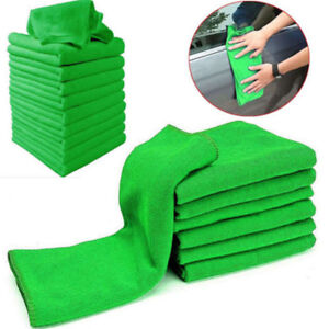 10Pcs-Green-Microfiber-Washcloth-Car-Auto-Care-Cleaning-Towels-Soft-Cloths-Tool