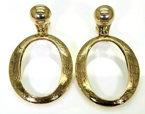 Very Heavy Vintage Door Knocker 9ct Yellow Gold Clip On Dropper earrings