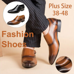 Men-Dress-Buckle-Leather-Shoes-British-Style-Pointed-Oxfords-Formal-Work-Wedding