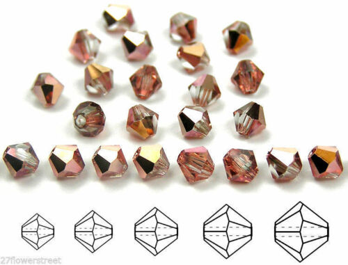 Crystal Capri Gold Half coated Rondell//Diamond Czech MC Glass Bicone Beads