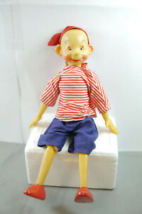 Pinocchio-Doll-Plastic-With-Clothing-Fabric-Burattino-GDR-USSR-70er-15-11-16in