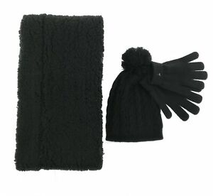 MAP-Womens-Black-Faux-Fur-Infinity-Scarf-Hat-and-Gloves-Set-Winter-One-Size
