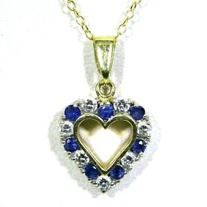 Quality-Sapphire-amp-0-35ct-Diamond-Love-Heart-9ct-Yellow-Gold-Pendant-18-034-Chain