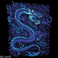 Oriental Blue Dragon Heat Press Transfer For Shirt Sweatshirt Fabric Block 721o
