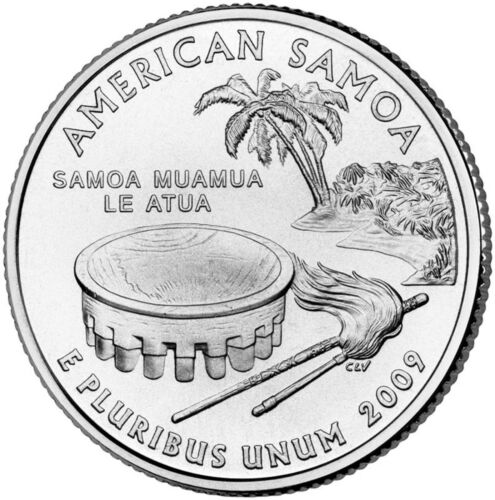 """State Quarter 25c Uncirculated Roll of 40 /"""" D /"""" Mint #54 2009 American Samoa AS"""