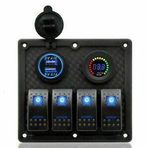 4Gang-Blau-LED-Schaltpanel-Schalter-Kippschalter-Schalttafel-Voltmeter-Auto-Boot
