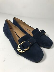 7bce9af8ff6 Image is loading TORY-BURCH-MARSDEN-SLIPPER-SUEDE-LOGO-BLUE-LOAFER-