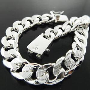 Mens-Bracelet-925-Sterling-Silver-S-F-Solid-Real-Bling-Curb-Cuban-Link-21cm