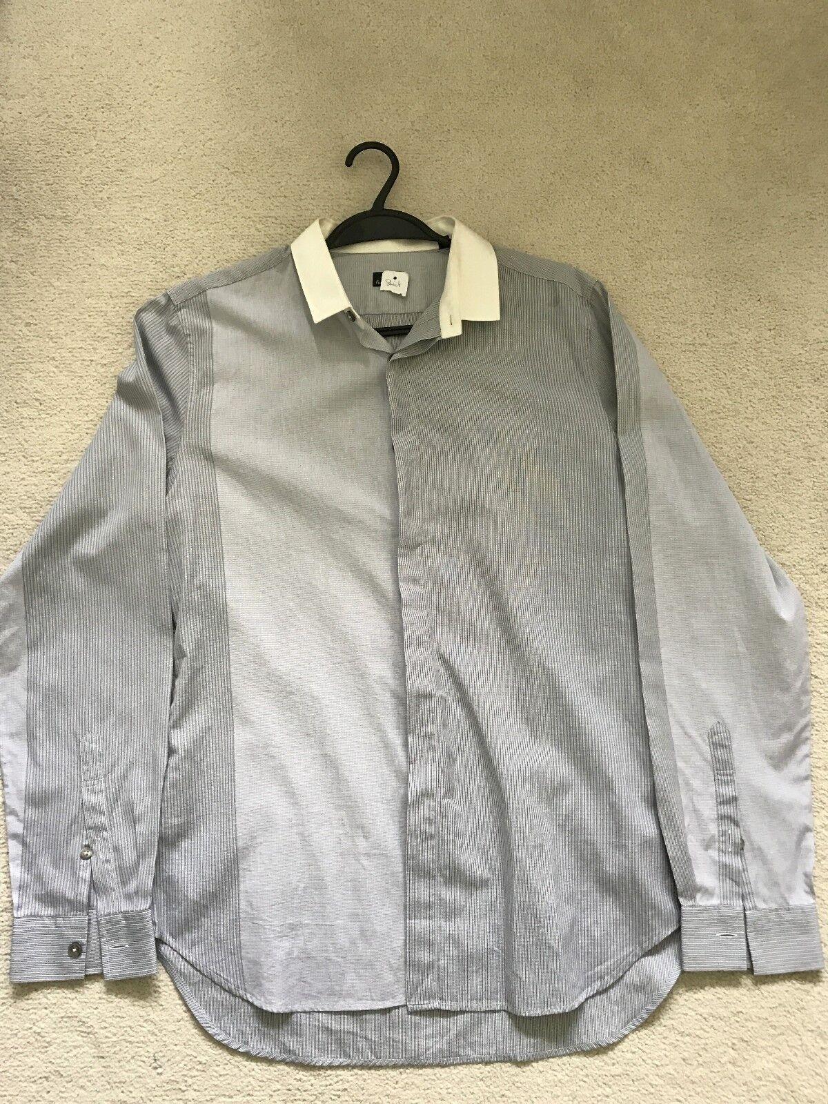 Paul Smith Ps Manica Lunga Contrasto con Motivo Camicia - M - p2p 50.8cm