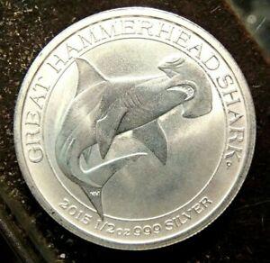 2015 Hammerhead Shark 1//2 Oz 999 Silver Australian 50 Cent Coin