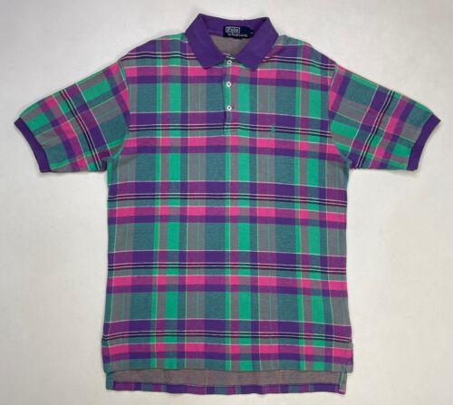VINTAGE Polo Ralph Lauren Plaid Mens Polo Shirt Me