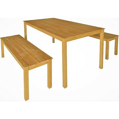 3pc Timber Outdoor Dining Table Bench, Outdoor Timber Dining Table With Bench Seats