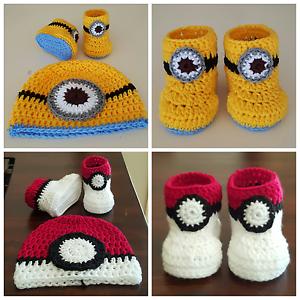 Hand-crochetted-Pokemon-Pokeball-amp-Minion-baby-autumn-winter-booties-WITH-BEANIE