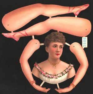 uralter-wunderschoener-Oblaten-Bogen-Ballerina-L-amp-B-2686-DIE-CUT-PAPER-DOLL