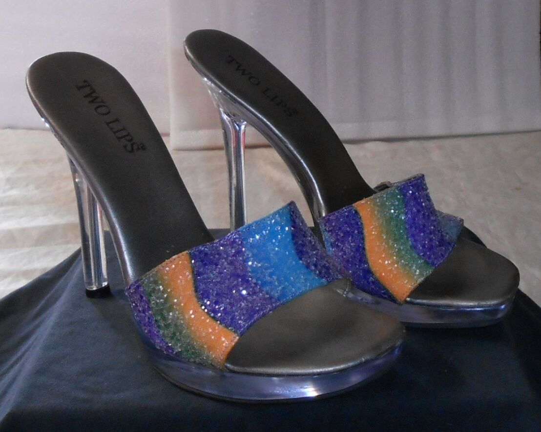 TWO LIPS  LUCITE SPIKED HEEL MULES  W MULTI-COLOR GLITTER TOP, U.S. SZ. 9, NICE