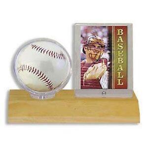Ultra-Pro-Wood-Base-Ball-Card-Holder-Light-Wood-Wooden-Baseball-Display-Case