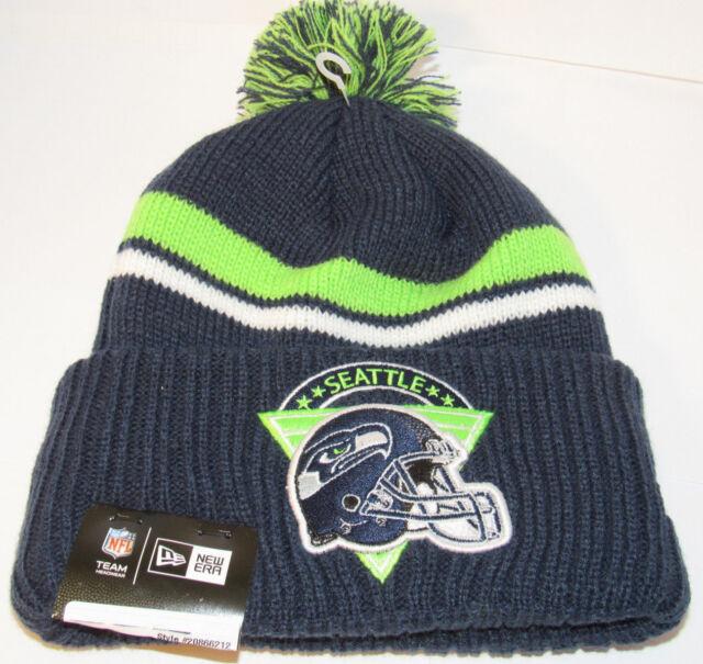 2e061668 Seattle Seahawks Era NFL Fandom Fashion Pom Knit Cap Hat 358308 OS