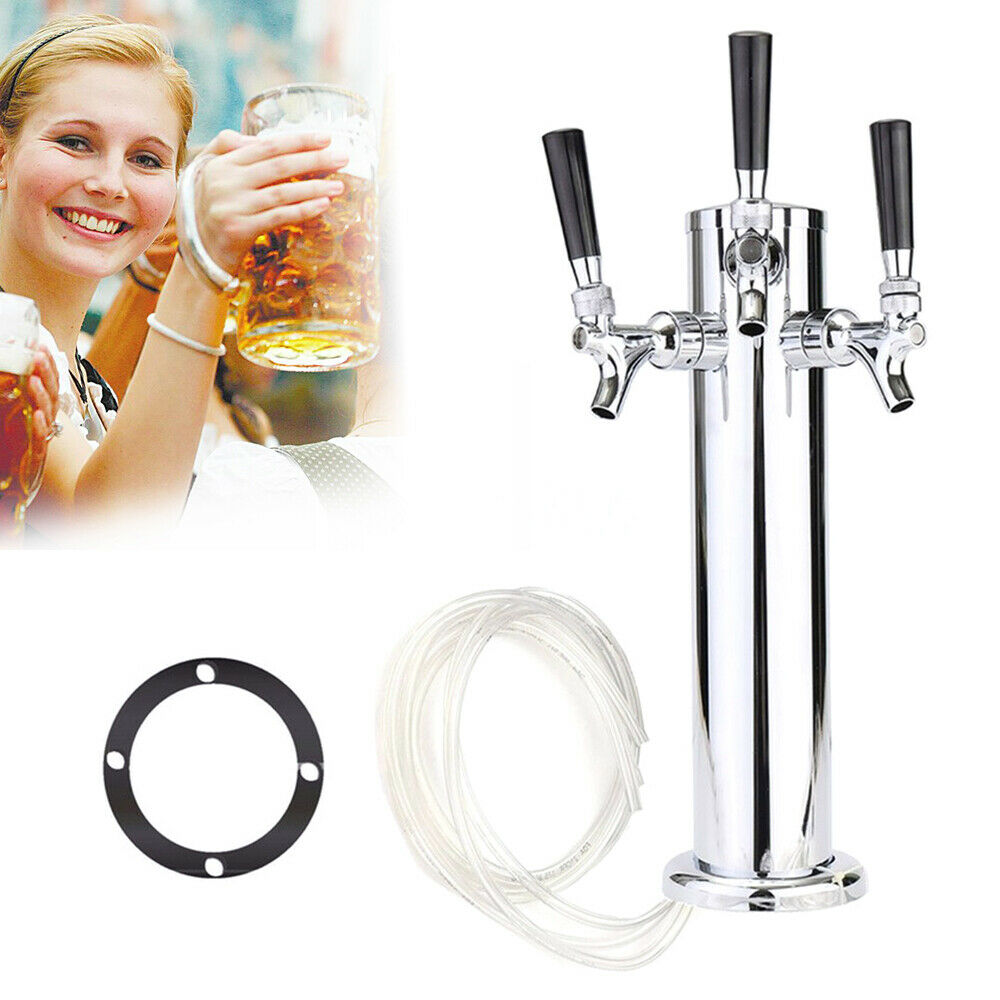 3 Taps Stainless Steel Draft Beer Tower Triple faucet F/Kegerator Beer Dispenser 3