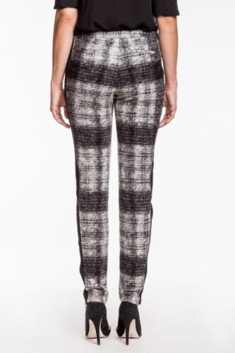 Rebecca Minkoff Women/'s Nicholas Pants BLACK GREY Checkered Wool Leather Zipper