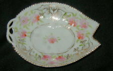 OLD HAND PAINTED NIPPON JAPANESE PORCELAIN PIN DISH, LEAF SHAPE, FLOWERS