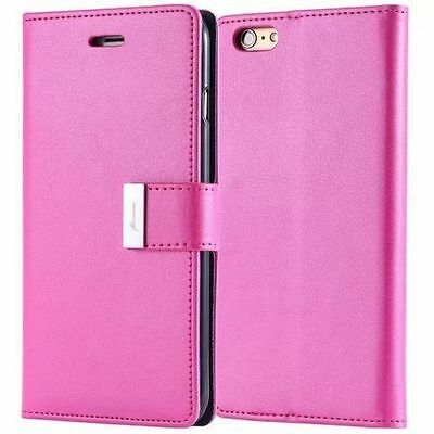 Dual Card Holder Cash Wallet Leather Book Flip Case Cover Fr Apple Various Phone