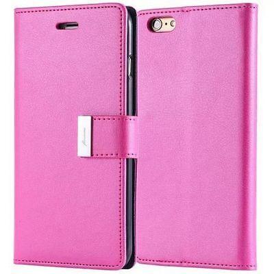 Dual Card Holder Cash Wallet Leather Book Flip Case Cover Fr Apple Various Phone