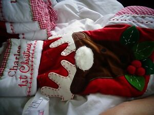 Pottery Barn Kids Quilted Stocking Reindeer Mono 1st