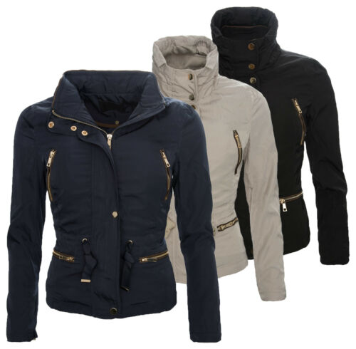 Donna Giacca Windbreaker Donna Giacca transizione giacca cappuccio S-XL BEIGE BLU d50 NUOVO
