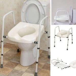 New Toilet Seat Frame Adjustable Support Armrests Rubber