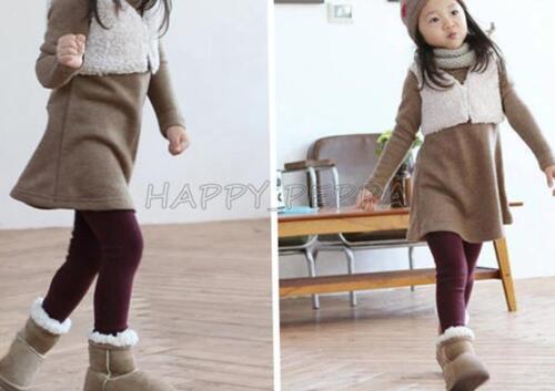 Toddler Girls Kids Winter Warm Fleece Lined Thick Leggings Skinny Pants Trousers