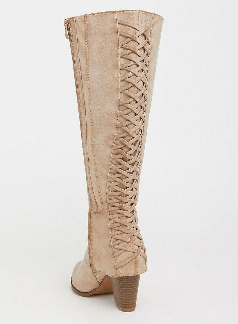TORRID Women's Tan Lattice Knee Boot WIDE WIDTH  sz ( 10 )