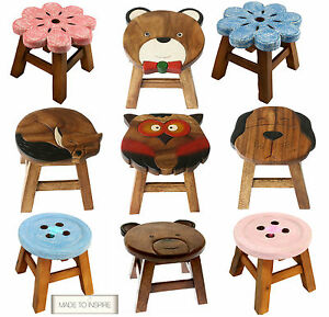 shabby chic children kids wooden stool solid pine character seat step in box ebay. Black Bedroom Furniture Sets. Home Design Ideas