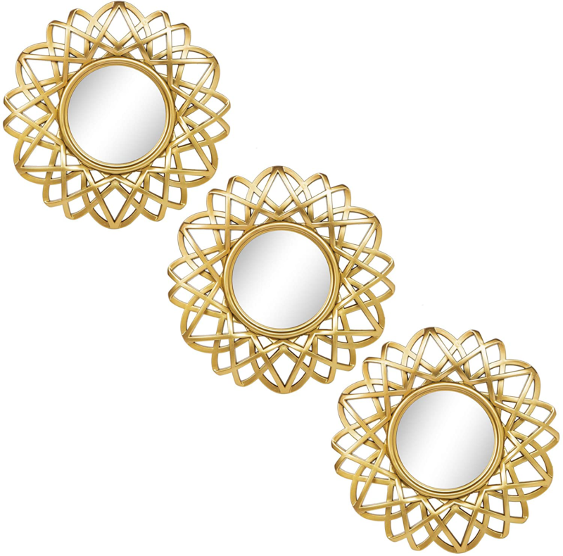 Set of 3 Champagne Gold Finish Square Wall Art Deco Geometric Mirror Tiles