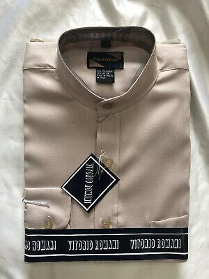 Men/'s Solid Long Sleeve Dress//Casual NO COLLAR Button up Shirt *LT MOCHA S-XXL