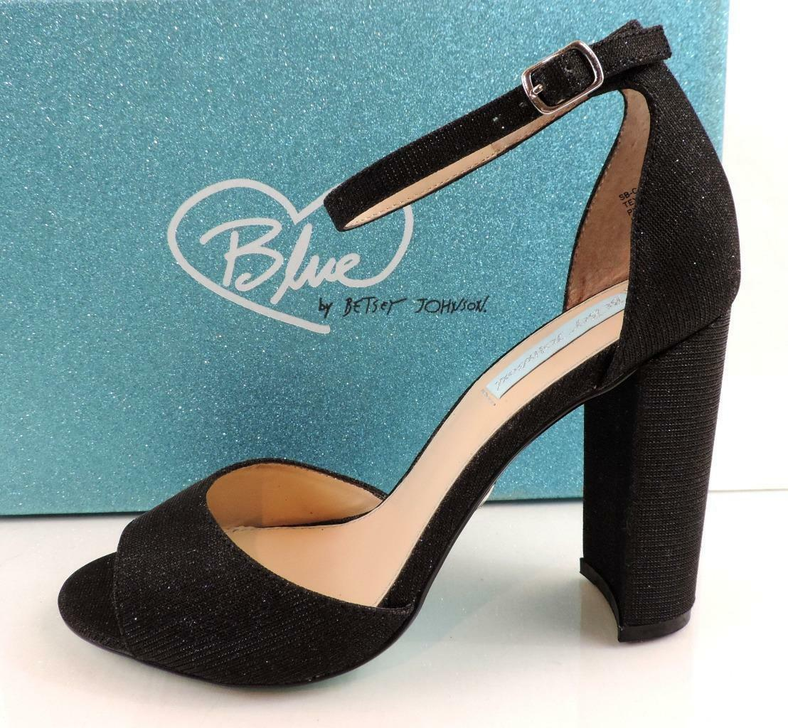 bluee by Betsey Johnson Carley Ankle Strap Block Heels Dress Sandals Black Size 6