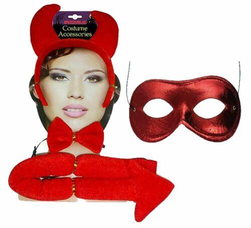 Femme Diable Accessoires Costume diable Cornes Bandeau Noeud Papillon Queue Masque Yeux Set