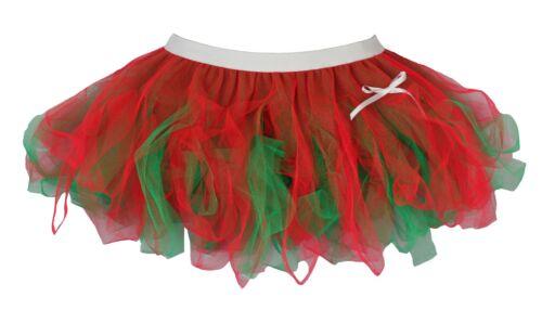 Ladies Flo Red /& Emerald Green Christmas Cyber Tutu Skirt Elf Fancy Dress