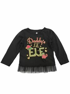 Infant-and-Toddler-Girls-Daddy-039-s-Lil-Elf-Christmas-Glitter-Baby-Tee-T-Shirt-4T
