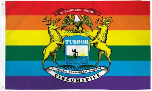 Michigan State Rainbow Flag 3x5 LGBTQIA  Rainbow Michigan State Pride LGBT MI