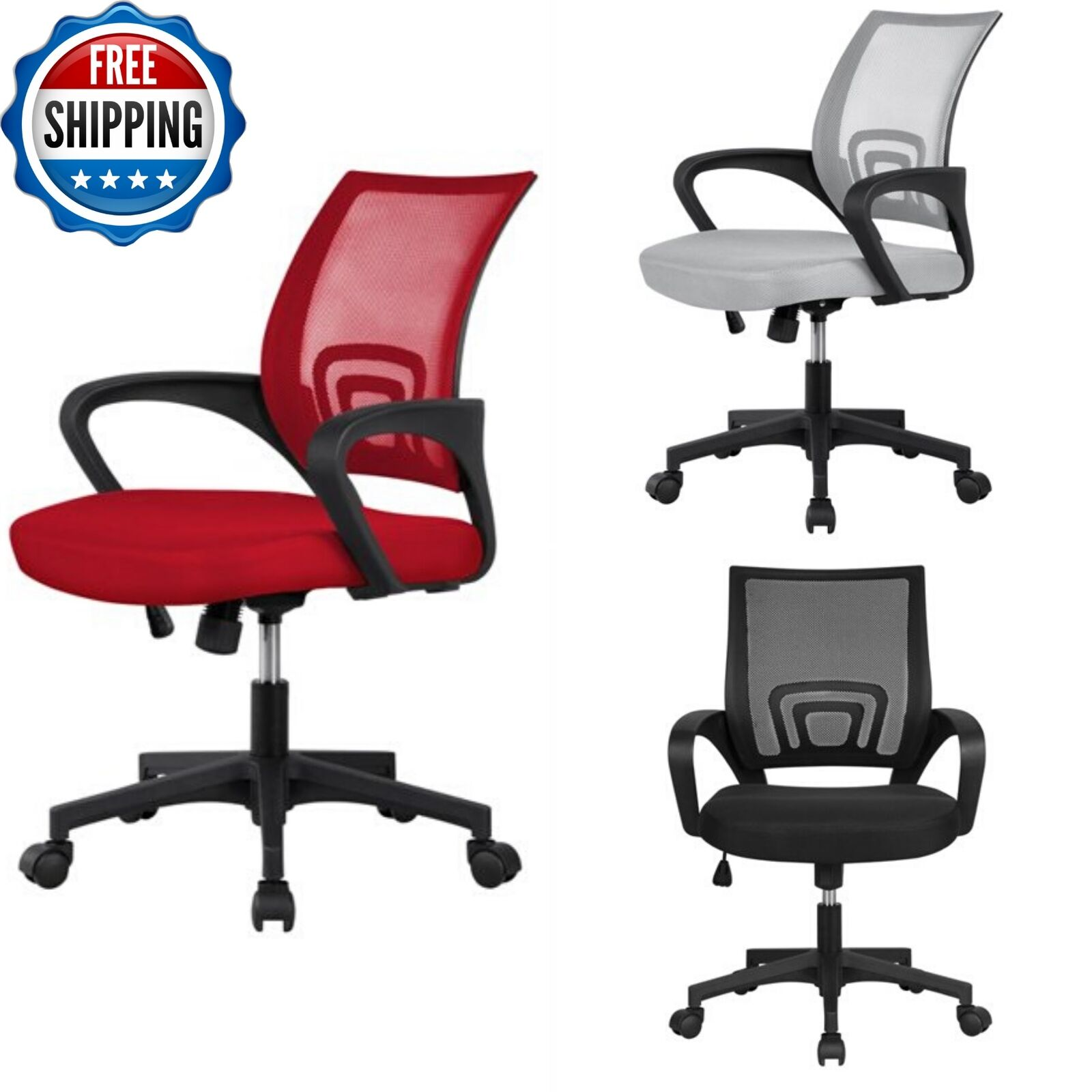 - Adjustable Mesh Office Chair Ergonomic Rolling Swivel Computer